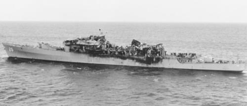 USS Belknap (CG-26) After collision on November 22, 1975