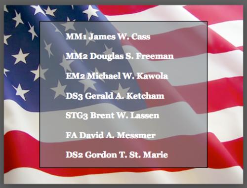 MM1 James W. Cass  MM2 Douglas S. Freeman  EM2 Michael W. Kawola  DS3 Gerald A. Ketcham  STG3 Brent W. Lassen  FA David A. Messmer  DS2 Gordon T. St. Marie
